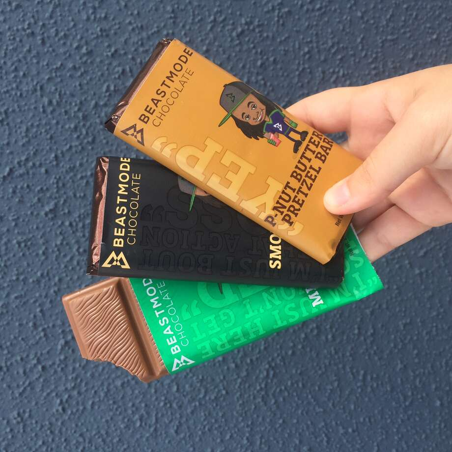 Promotional image of Marshawn Lynch's BEASTMODEchocolate bar line. Photo: BEASTMODEchocolate/Courtesy