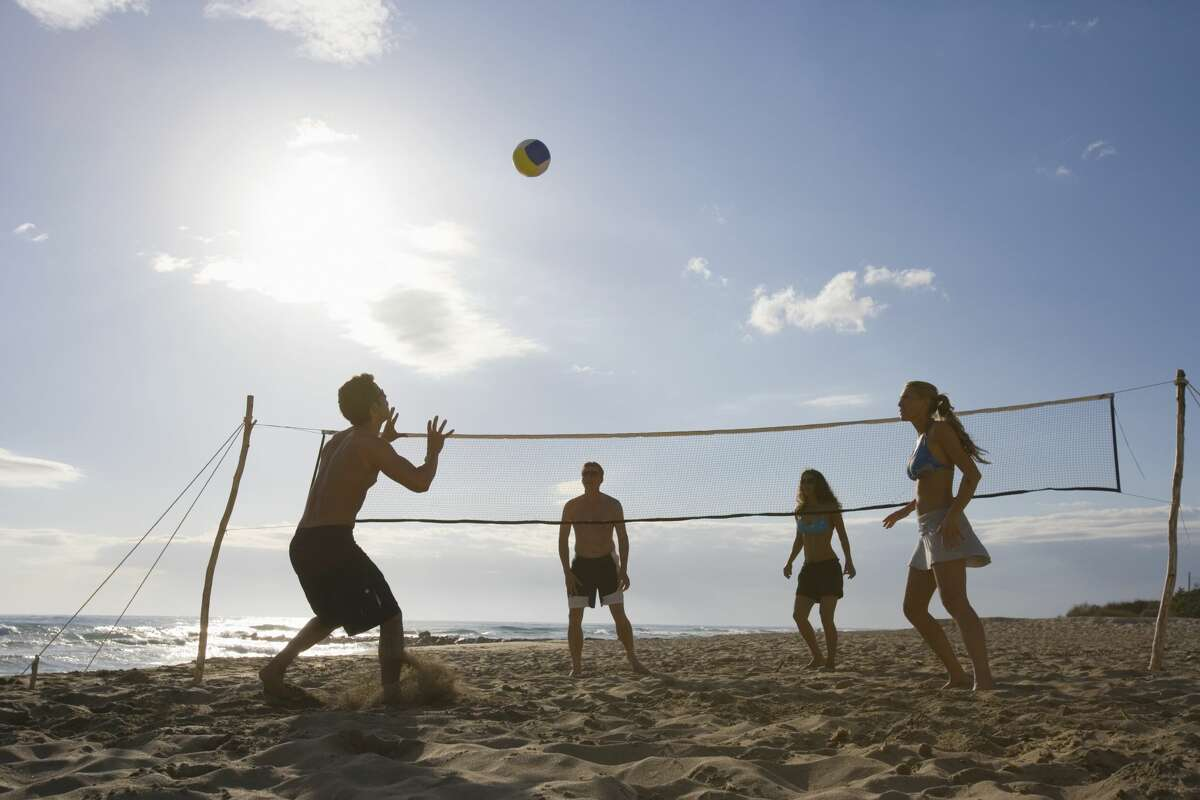 Beach volleyball: Now that fall is here and you aren't at risk of a heat stroke, grab a volleyball and head out to the beach for some ocean-side fun.
