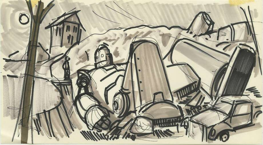 "Storyboard art from the 1999 film ""The Iron Giant."" Photo: Courtesy Kevin O'Brien"