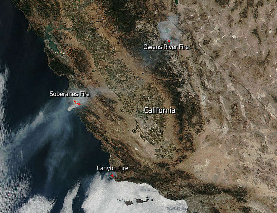 The Soberanes, Owens River and Canyon Fires are clearly visible from these satellite images released by NASA on September 19th.