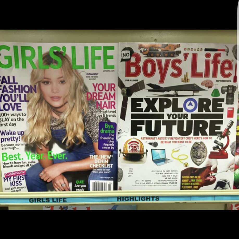 """Comedian Amy Schumer posted this viral comparison photo of 'Girls' Life' magazine and 'Boys' Life' magazine to her Instagram account on September 20, 2016. She captioned the photo, """"No."""" (www.instagram.com/amyschumer/)"""
