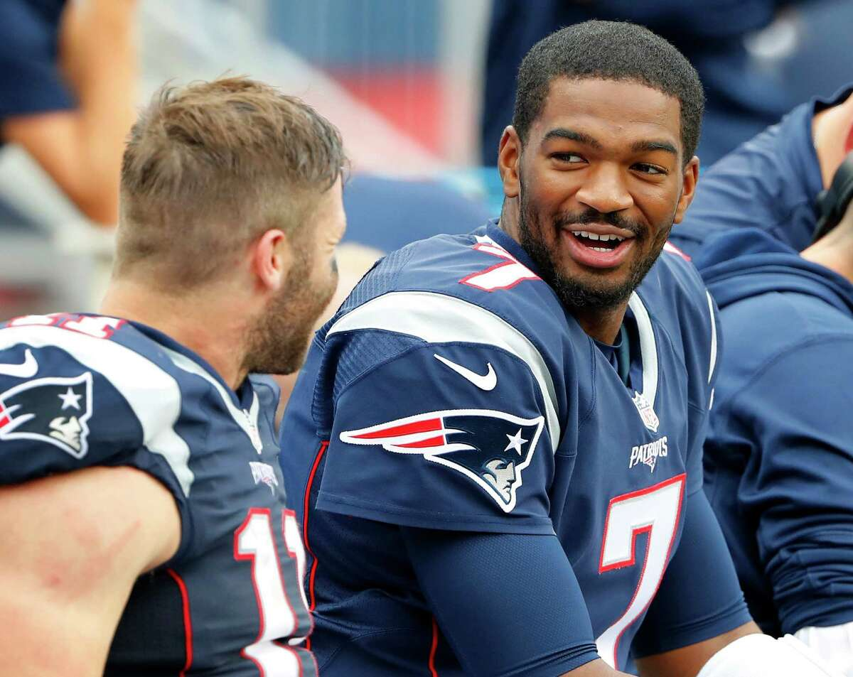 New England Patriots quarterback Jacoby Brissett talks with Julian Edelman during a NFL football game against the Miami Dolphins at Gillette Stadium in Foxborough, Mass. Sunday, Sept. 18, 2016. (Winslow Townson/AP Images for Panini)
