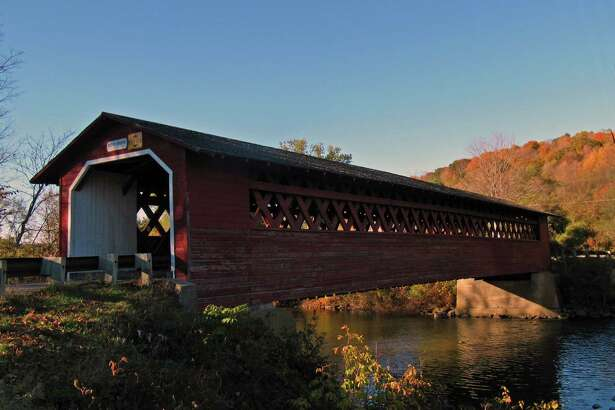 Covered-bridges are a can't miss during leaf-peeping season in Bennington. (Lukes_photos via Flickr)