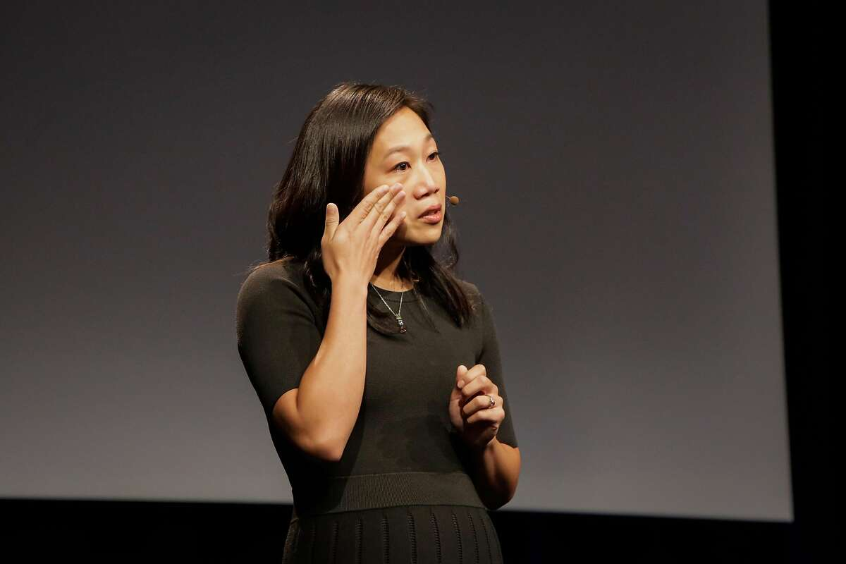 Dr.Priscilla Chan got emotional while announcing the newest Chan-Zuckerberg initiative, to fund disease-prevention research, at the Rutter center at UCSF, in San Francisco, California, on Wednesday, Sept. 21, 2016.