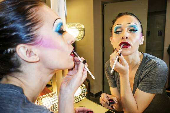 Lena Hall getting into makeup as Hedwig,� She will appear as Hedwig in the following San Francisco performances: Sunday, October 9 at 7pm; Wednesday, October 12 at 8pm; Wednesday, October 19 at 8pm; and Wednesday, October 26 at 8pm.�