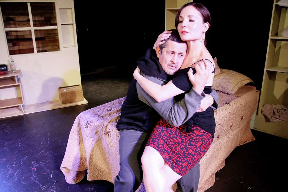 """Luis Galindo and Patricia Duran star in the Obsidian Theater production of """"The Mother****** With the Hat."""" Photo: Courtesy Of Obsidian Theater"""