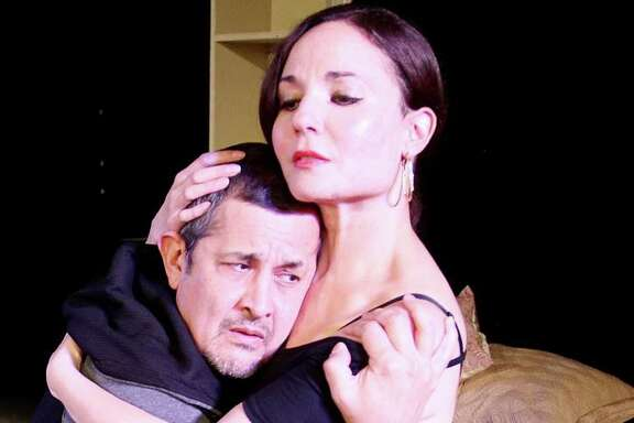 "Luis Galindo and Patricia Duran star in the Obsidian Theater production of ""The Mother****** With the Hat."""