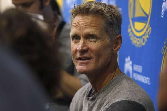 Golden State Warriors head coach Steve Kerr meets with sports reporters to talk about the upcoming NBA season at the team's practice facility in Oakland, Calif. on Wednesday, Sept. 21, 2016.