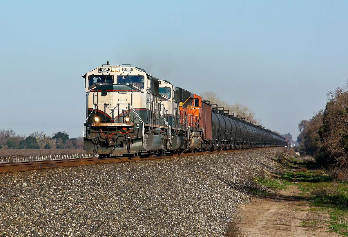 A BNSF train carrying crude oil from North Dakota to Bakersfield, California flies through Thornton, California on February 11th, 2013.