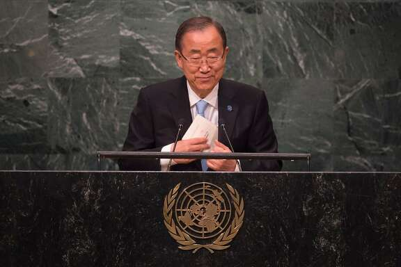 UN Secretary General Ban Ki-moon speaks the United Nations during the Entry into Force of the Paris Agreement September 21, 2016 at the United Nations in New York.  / AFP PHOTO / DON EMMERTDON EMMERT/AFP/Getty Images