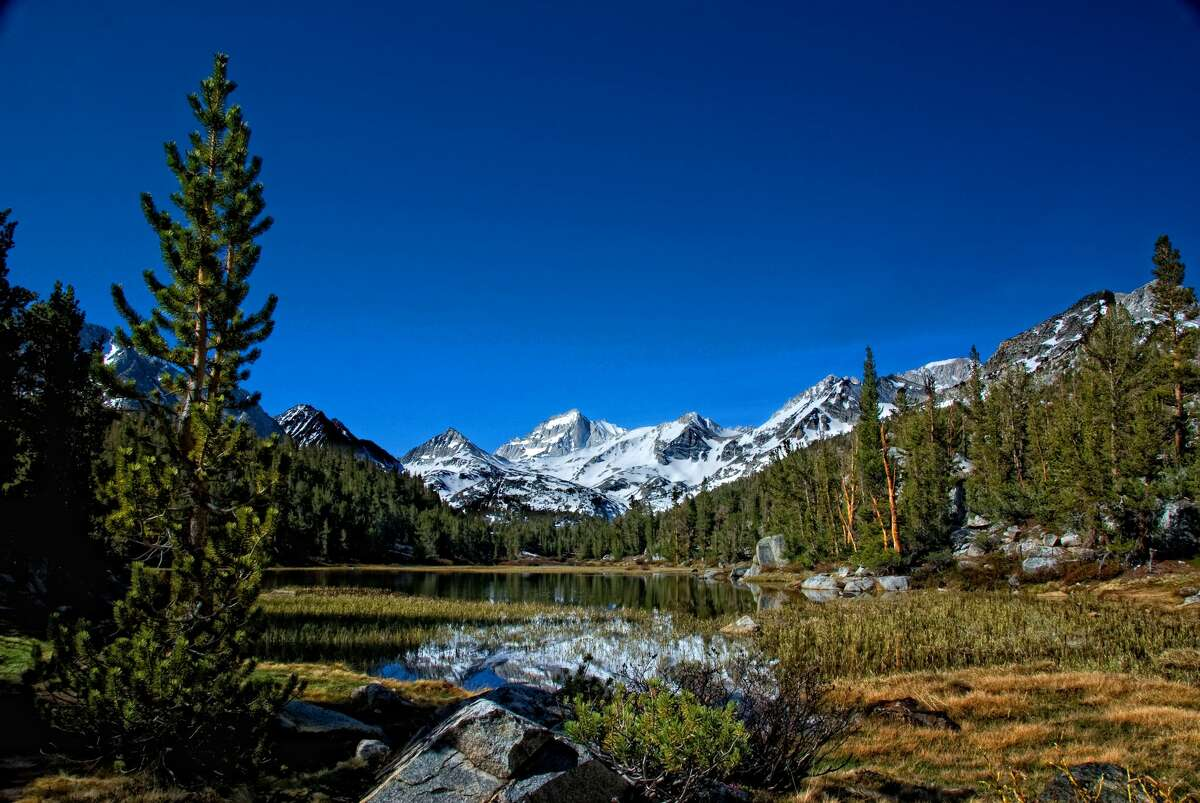 Bear Creek Spire and Pond are shown in the John Muir Wilderness.