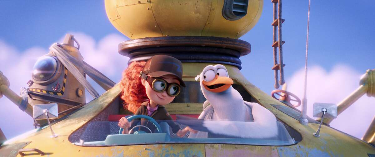 This image released by Warner Bros. Pictures shows characters Tulip, voiced by Katie Crown, left, and Junior, voiced by Andy Samberg, in a scene from
