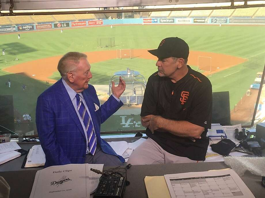 Vin Scully and Bruce Bochy chat in the press box before Wednesday's game at Dodger Stadium. Photo: San Francisco Giants Photo