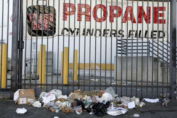 Trash near Bayshore Blvd. on Wednesday, September 21,  2016 in San Francisco, Calif.