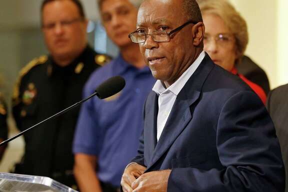Mayor Sylvester Turner addresses the media with acting Houston Police Chief Martha Montalvo at City Hall, Friday, July 8, 2016, in Houston, as more Black Lives Matter protests are planned in the city, he called for calm.  ( Karen Warren  / Houston Chronicle )