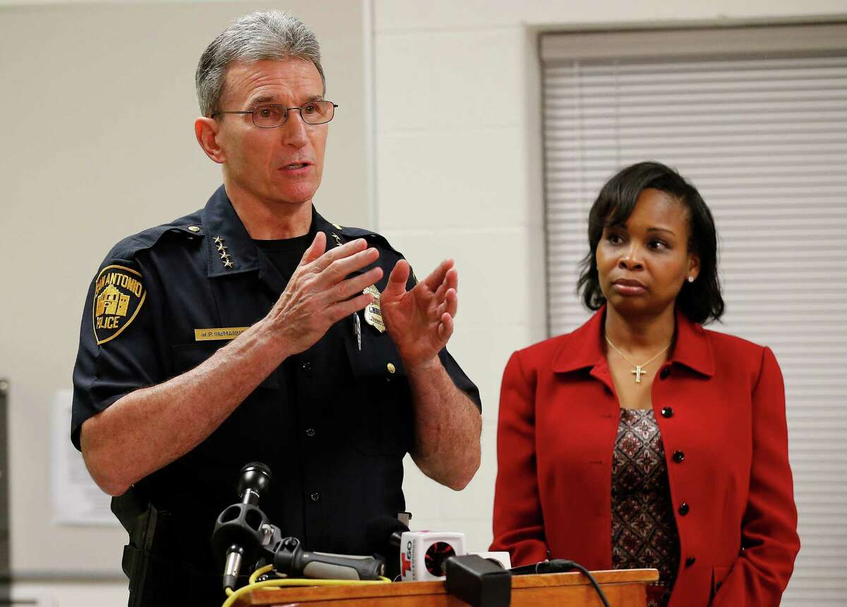 Police Chief William McManus (left) and Mayor Ivy Taylor address the media on Wednesday night after the city held the first meeting of the Mayor?'s Council on Police-Community Relations (CPCR), at the Career & Technical Education building at Sam Houston High School, 4635 E. Houston St., 78220. The council includes almost three dozen community leaders, including a former county commissioner, religious leaders, a candidate for the Texas House of Representatives, police union members and a representative for a current state rep. will be in attendance. (Kin Man Hui/San Antonio Express-News)