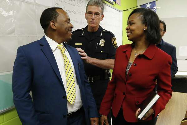 Citizen Walter Perry (from left), Police Chief William McManus and Mayor Ivy Taylor gathered to address the media on Wednesday night after the city held the first meeting of the Mayors Council on Police-Community Relations (CPCR), at the Career & Technical Education building at Sam Houston High School. The meeting was held behind closed doors, and that was a mistake.
