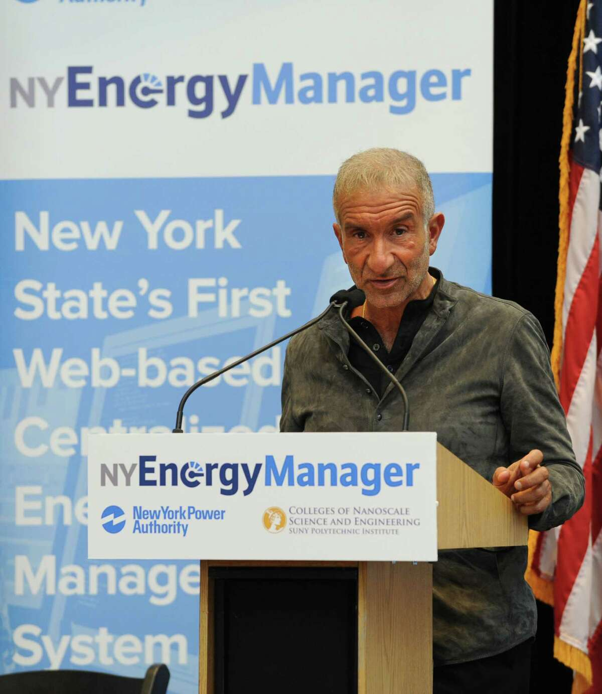 Senior Vice President and Chief Executive Officer, College of Nanoscale Science and Engineering (CNSE) Alain Kaloyeros speaks as New York Power Authority and CNSE at SUNY Polytechnic Institute hold a joint news conference to announce the launch of New York State's first energy management network operations center - the NY Energy Manager (NYEM) -located at CNSE Tuesday, Oct. 21, 2014 in Albany, N.Y.(Lori Van Buren / Times Union)