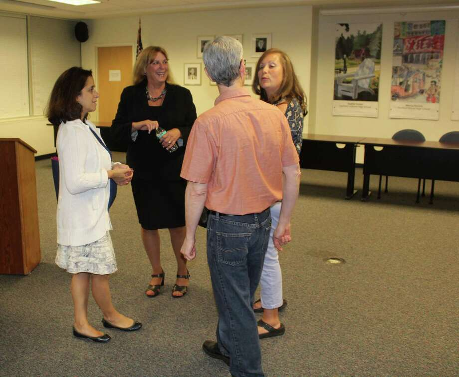 Incoming superintendent Toni Jones mingles during a meet and greet at school district offices in Fairfield, Conn. on Sept. 21, 2016. Photo: Laura Weiss / Hearst Connecticut Media / Fairfield Citizen