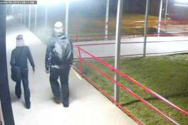 Surveillance photos show two intruders who broke into Coldspring-Oakhurst High School over the Labor Day weekend.
