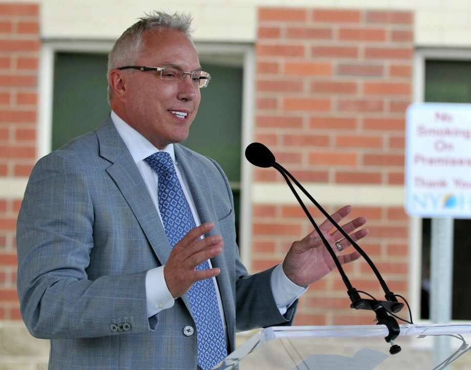 Columbia Development Companies President Joe Nicolla speaks during the opening of the New York Oncology Hematology Center Friday, June 5, 2015 in Clifton Park, N.Y. (Phoebe Sheehan/Special to the Times Union) Photo: PS / 00032162A