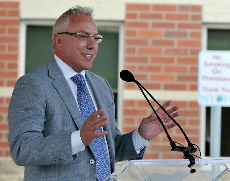 Columbia Development Companies President Joseph Nicolla speaks during the opening of the New York Oncology Hematology Center Friday, June 5, 2015 in Clifton Park, N.Y. Nicolla, who had a state indictment against him dismissed in relation to a bid-rigging case, is back in the public spotlight as of August 2019, asking for tax breaks for a health technology business in Troy. (Phoebe Sheehan/Special to the Times Union)