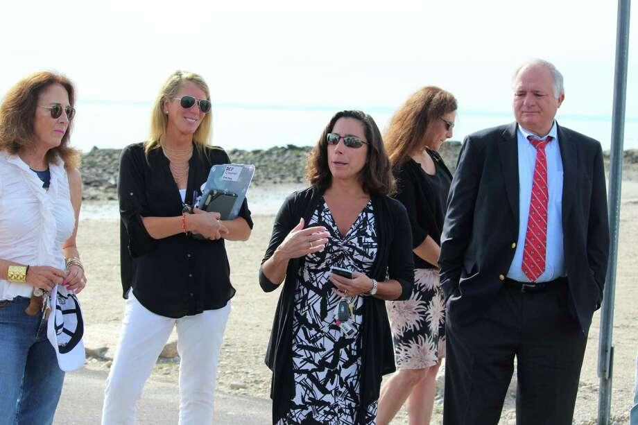 Parks and Recreation Director Jen Fava explains the concept of the Compo Beach South walkway and restroom design to members of the RTM and the public on Sept. 21, 2016 in Westport, CT. Photo: Chris Marquette / Hearst Connecticut Media / Westport News