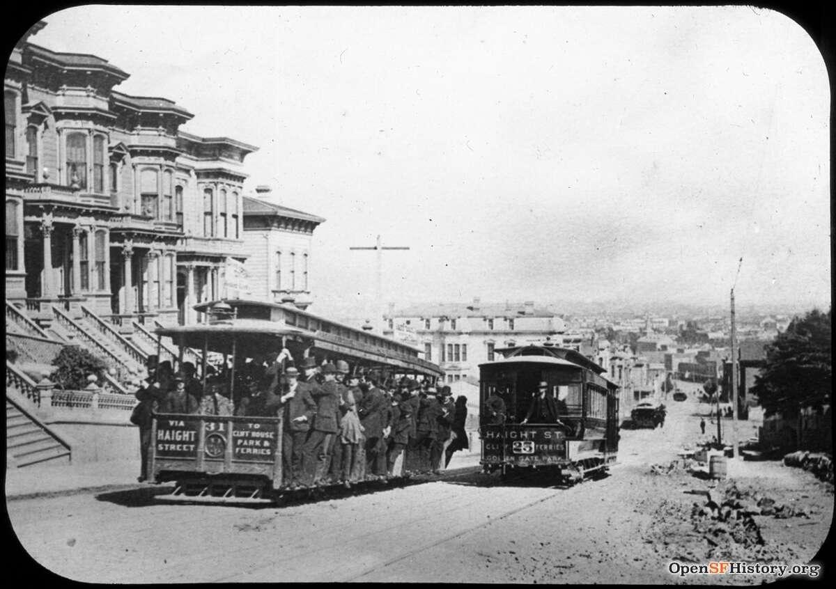 Haight near Laguna 1900, Edward H. Kemp Old San Francisco, Haight Street, Cable Car. 1900 Market Street Cable Railway, San Francisco. Courtesy of OpenSFHistory.org.