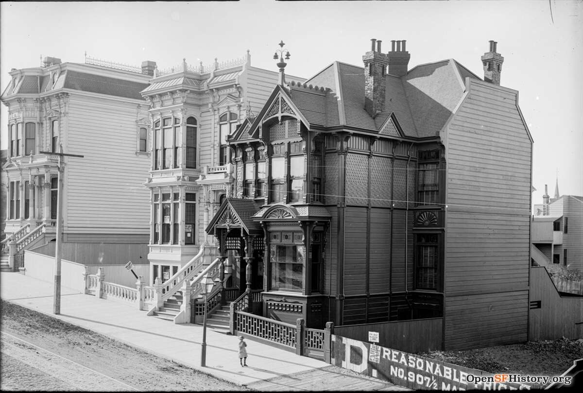Haight Street near Laguna circa 1895. View northwest of still extant residences 176-78 Haight, 180-82 Haight, and 198 Haight, McMorry-Lagen House, San Francisco Landmark #164. Courtesy of OpenSFHistory.org.