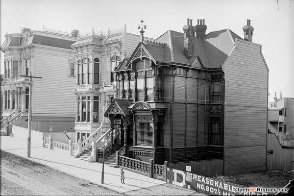 Haight Street near Laguna circa 1895. View northwest of still extant residences 176-78 Haight, 180-82 Haight, and 198 Haight, McMorry-Lagen House, San Francisco Landmark #164. Courtesy of  OpenSFHistory.org .