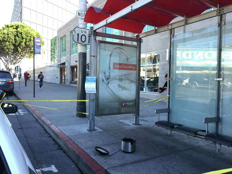 A rice cooker left at a bus stop on South Van Ness Avenue at Mission Street prompted bomb-squad response and the shut down of the major intersection Thursday morning for about two hours. Police determined that the cooking device was not a threat. Photo: Sarah Ravani / The Chronicle / /