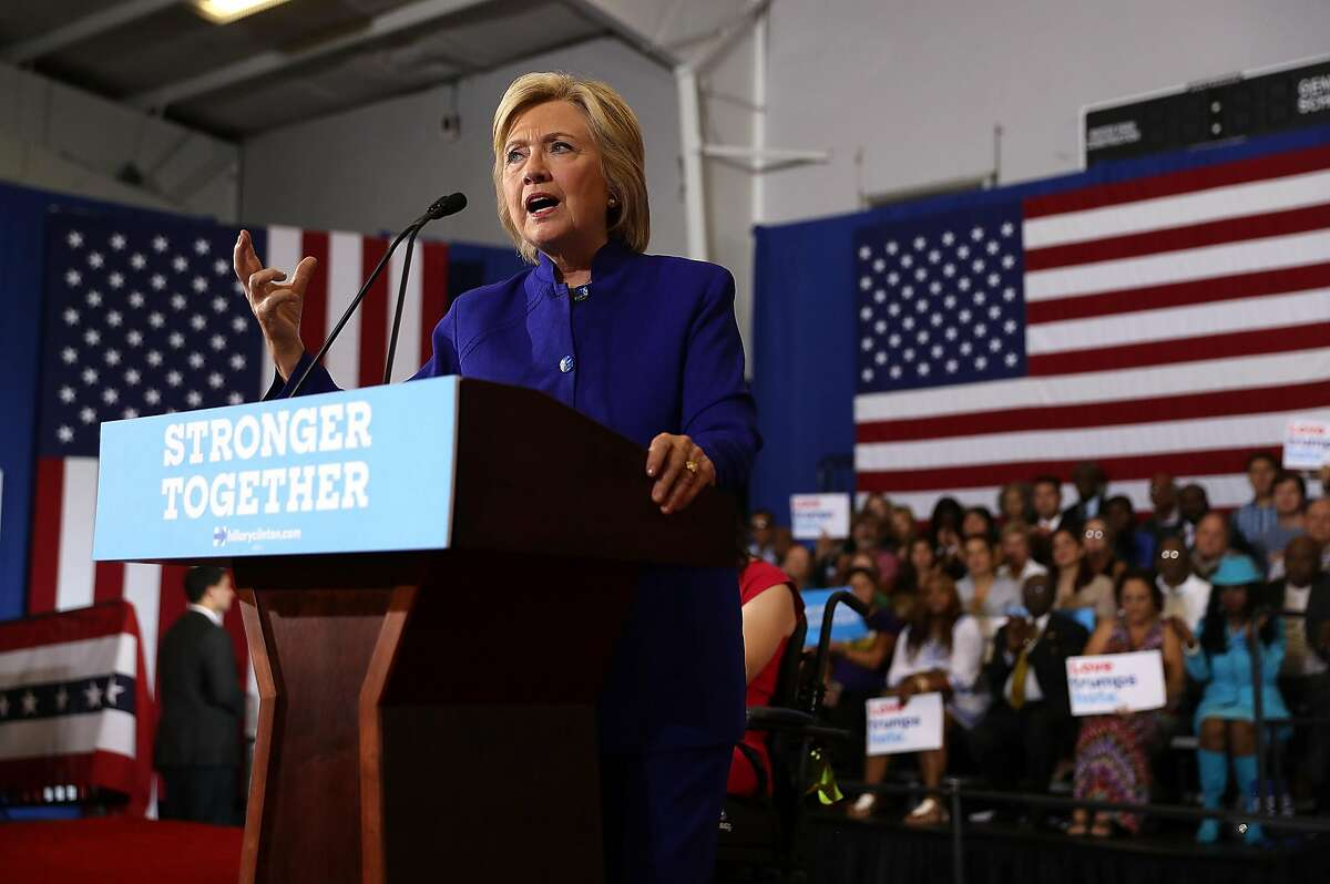 ORLANDO, FL - SEPTEMBER 21: Democratic presidential nominee former Secretary of State Hillary Clinton speaks during a campaign event at Frontline Outreach and Youth Center on September 21, 2016 in Orlando, Florida. Hillary Clinton is campaigning in Florida. (Photo by Justin Sullivan/Getty Images)