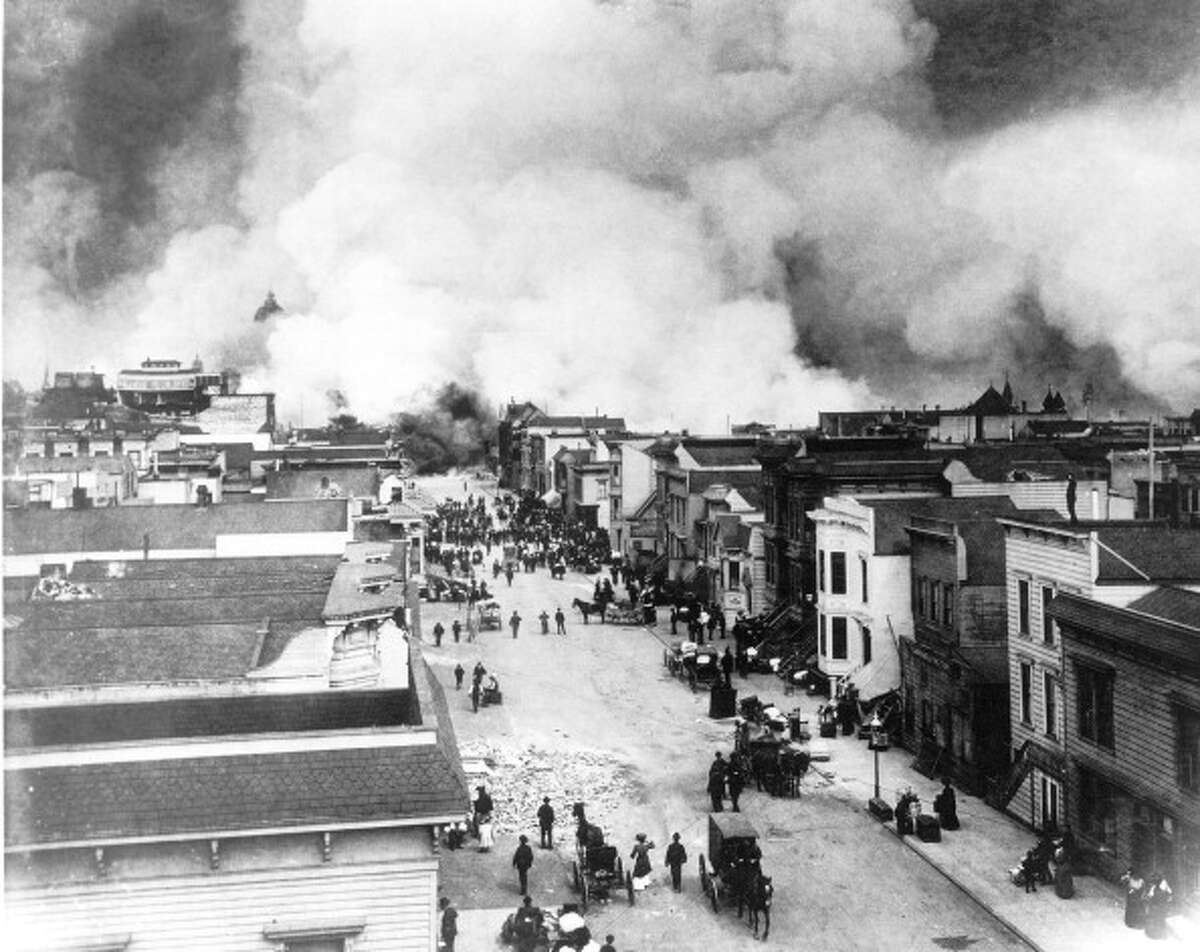 LARGE CALIFORNIA EARTHQUAKES:San Francisco: April 18, 1906 Magnitude-7.9, 3,000 killed, $524 million in property damage High temperature 62 degrees, low 51 degrees Close-up view of refugees as they flee along Grove Street from the so-called 'Ham & Eggs' fire, San Francisco, California, April 18, 1906. This fire started in a house on the south side of Hayes Street when, around 9am, a woman attempted to make breakfast on her stove, the chimney for which had been damaged in the massive earthquake. This fire burned more territory than any other single fire, and as all fire departments were engaged elsewhere, the fire spread out of control reaching Gough and Grove Streets, eventually causing the destruction of the Mission District as well as the Hayes Valley section, including the Mechanics' Pavilion and the City Hall.