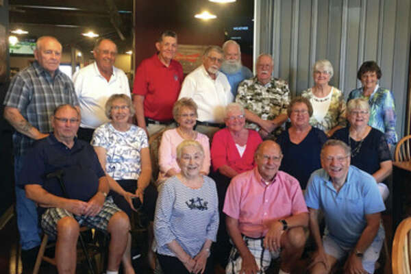 The Pigeon High School class of 1956 had their 60th class reunion Aug. 6 at Shooters Bar and Grill in Pigeon. Pictured are (front row) Lois Dast, Clare Bechler and Ronald Diener; (second row) Robert Ziel, Janice (Decker) Schafer, Donna Furtaw) Fox, Doris (Siewert) Schuette, Noel (Schuette) Wichert and Karen (Damm) Story; and (back row) Tom Schafer, Kent Paul, Gerald LaMere, Clark Elftman, Fred Clabuesch, Garth Gordon, Vivian (Buchholz) Buschlen and Myra (Maust) Gerstenschlager. (Submitted Photo)