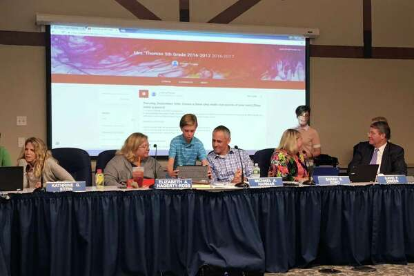 At a meeting on Sept. 20, fifth graders from Tokeneke Elementary School in Darien, CT demonstrated to the Board of Education how they use the Chromebooks given to them as part of a district wide technology initiative.