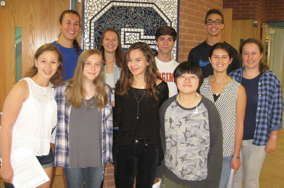 The 2017 Staples High School National Merit Scholarship semifinalists. Back row: Grace McGinley, left, Nicole Kiker, Alexander Ialeggio and Brendon Massoud. Front row: Pheobe Spear, left, Lindsey Marks, Ulyana Piterbarg, JiSu Ahn, Isabelle Amlicke and Tia Pogue. Photo: Picasa Contributed / Contributed Photo / Westport News