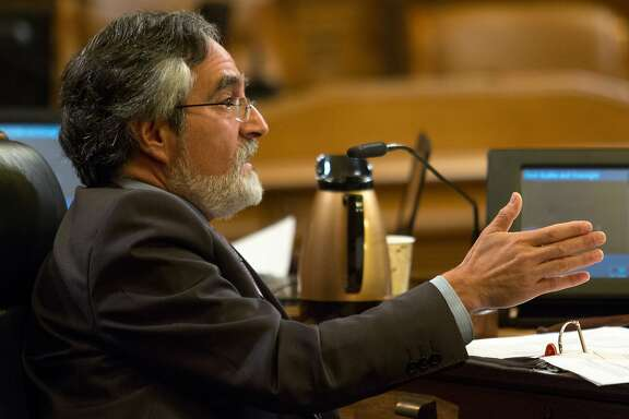 Aaron Peskin of the Board of Supervisors questions Department of Building Inspection officials during a meeting on Thursday, Sept. 22, 2016 in San Francisco, Calif. The Millennium Tower, located at 301 Mission Street, is sinking. Supervisors met with the Department of Building Inspection, among other officials for a hearing on the building, a 58-story condo tower which has sunk 16 inches since it opened in 2009.