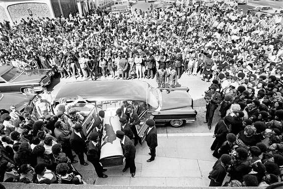 George Jackson�s coffin carried into St. Augustine�s Episcopal Church, Oakland, August 28, 1971