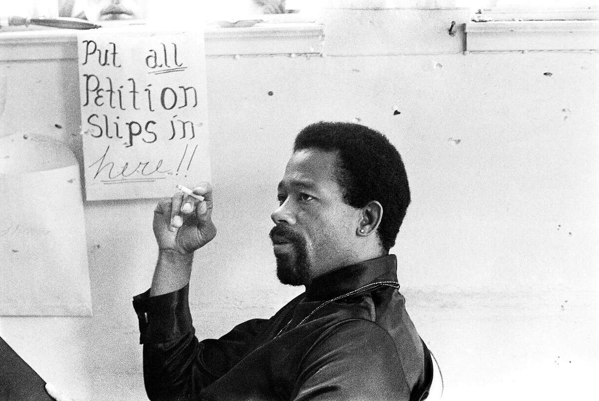 Eldridge Cleaver in the Panther office the day it was shot up by two Oakland policemen, September 29, 1968