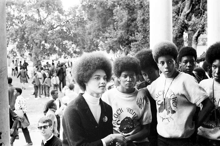 Kathleen Cleaver at a Free Huey rally in DeFremery Park, Oakland, 1968