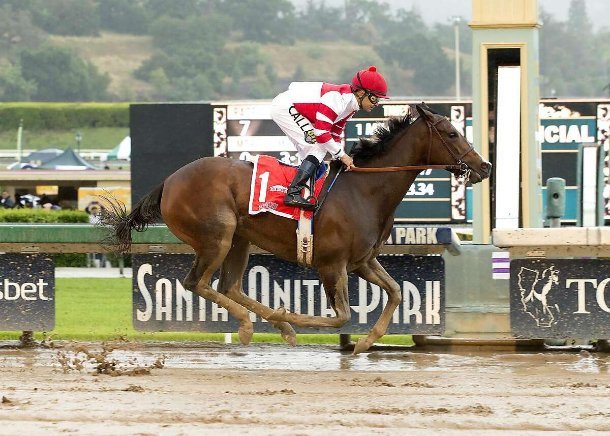 Songbird, ridden by jockey Mike Smith, wins Santa Anita Oaks horse race, Saturday, April 9, 2016, at Santa Anita Park in Arcadia, Calif. (Benoit Photo via AP)
