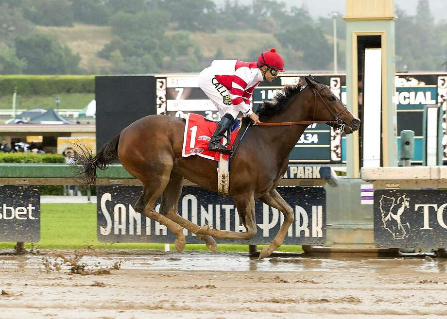 Unbeaten Songbird, here winning April's Santa Anita Oaks, is the big favorite in Saturday's $1 million Cotillion Stakes in Pennsylvania. Photo: AP