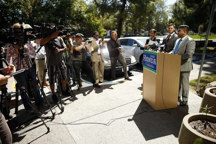 Vedant Patel, Rep. Mike Honda's communication manger, announces the filing of lawsuits charging that the campaign manager for Ro Khanna, Honda's Democratic opponent, illegally downloaded Honda donors' confidential data. Photo: Scott Strazzante, The Chronicle