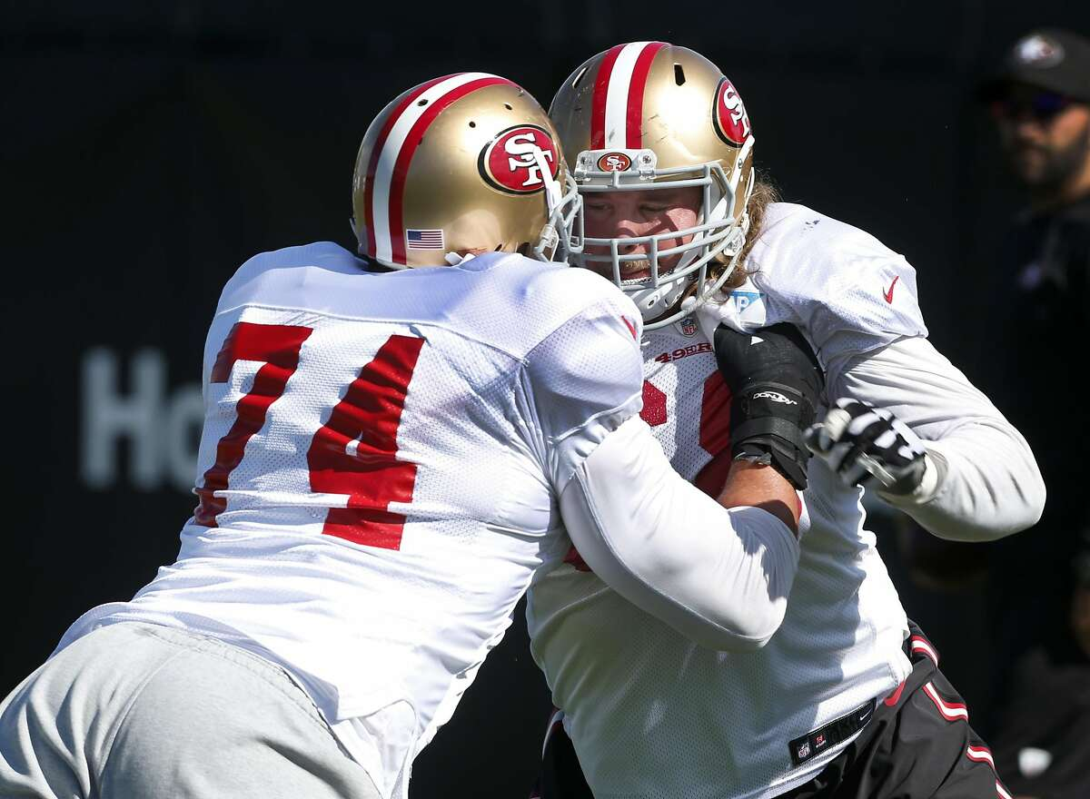 Guard Zane Beadles (right) prepares for this weekend's game against the Seattle Seahawks with teammate Joe Staley (74) at the 49ers practice facility in Santa Clara, Calif. on Thursday, Sept. 22, 2016.