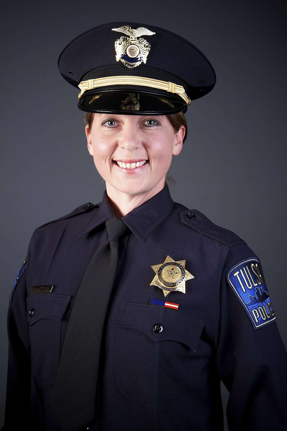 In an undated photo provided by the Tulsa Police Department, Betty Shelby, the officer who fatally shot Terence Crutcher, an unarmed black man, on Sept. 16, 2016. Shelby, a five-year veteran of the force, was charged with first-degree manslaughter on Sept. 22; Through a lawyer, Shelby has said that Crutcher was behaving erratically and refused to comply with commands. (Tulsa Police Department via The New York Times) -- FOR EDITORIAL USE ONLY --