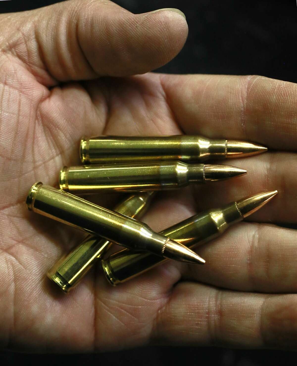 AR-15 rounds displayed by instructor Harold Johnson of Bay Area Firearms Instruction at their office in Burlingame, Calif., on Thurs. September 22, 2016.