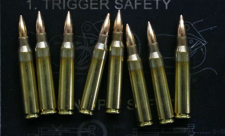 AR-15 rounds displayed at the offices of Scott Jackson owner of Bay Area Firearms Instruction in Burlingame, Calif., on Thurs. September 22, 2016.