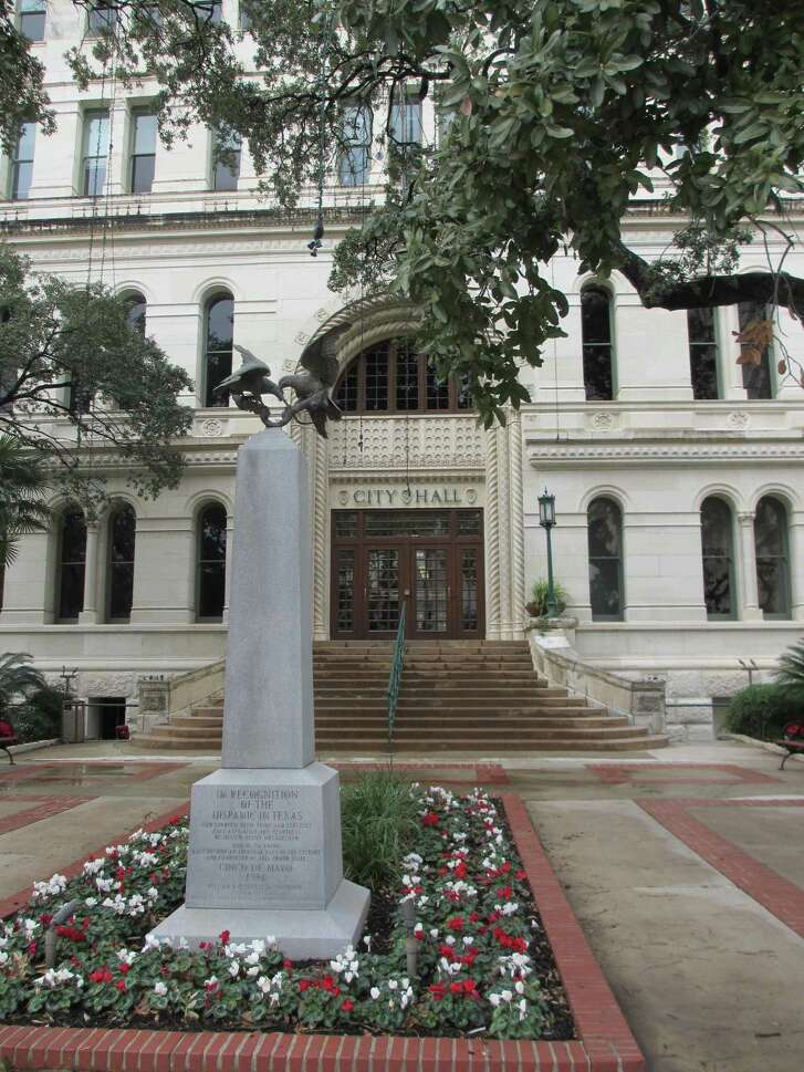 """A monument in front of San Antonio City Hall pays tribute to the role of Hispanics in """"keeping alive the heartbeat of Mexico"""" and playing an integral role in the culture and character of the state. It was erected on Cinco de Mayo in 1981."""