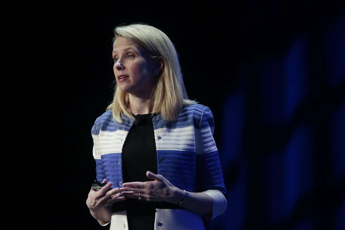 Marissa Mayer, chief executive of Yahoo, speaks at the Yahoo Mobile Developers Conference in San Francisco, Feb. 18, 2016.