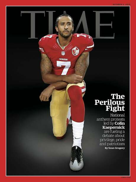 A photo illustration of a photo by Michael Zagaris of Colin Kaepernick is on this week's Time Magazine. Photo: Time Magazine